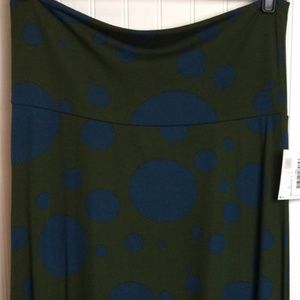 NWT LuLaRoe Maxi Large green blue dots